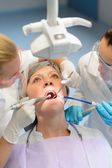 Elderly woman patient open mouth dental checkup — Stock Photo