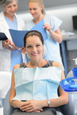 Businesswoman dentist nurse checkup dental clinic — Stock Photo