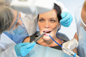 Healthy teeth patient at dentist office — Stock Photo