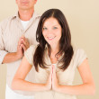 Casual business yoga pose businesspeople standing — Stock Photo #6212376