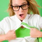 Green Superhero Businesswoman crazy face — Stock Photo #8600425