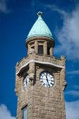 Clock tower in Hamburg harbor — Stock Photo