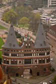The Holstentor city gate in Lubeck — Stock Photo