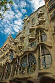 BARCELONA - MAY 8: The facade of the house Casa Battlo on May 8, 2013 Barcelona, Spain. House is designed by Antoni Gaudi­. — Stock Photo
