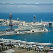 The busy port of Barcelona as seen from Montjuic Mountain — Stock Photo