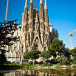 BARCELONA, SPAIN - MAY 10 2013: LSagradFamili- impressive cathedral designed by Gaudi, which is being build since 19 March 1882 and is not finished yet May 10, 2013 in Barcelona, Spain. — Stock Photo #34658533