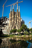 BARCELONA, SPAIN - MAY 10 2013: La Sagrada Familia - the impressive cathedral designed by Gaudi, which is being build since 19 March 1882 and is not finished yet May 10, 2013 in Barcelona, Spain. — Zdjęcie stockowe