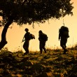 Stock Photo: Three soldiers patrolling during sunset