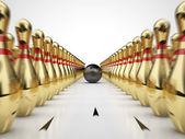 Altın bowling — Stok fotoğraf