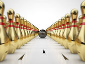 Golden bowling — Stockfoto
