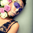 Stock Photo: Womin day of dead mask portrait
