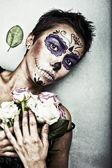 Halloween face art — Stock Photo