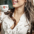 Businesswoman drinking tea — Stock Photo