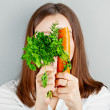 Girl and vegetables. healthy lifestyle — Stock Photo #42019665