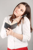 Pretty business woman at office on the phone — Stock Photo