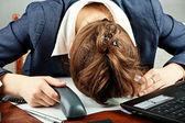 Tired businesswoman — Stock Photo