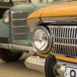 Piece of retro car faces in museum — Stock Photo #12147798