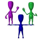 Blue 3d puppet hold green and purple — Stock Photo