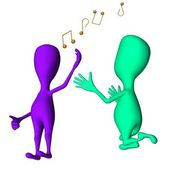 Different 3d puppets singing and request another — Stock Photo