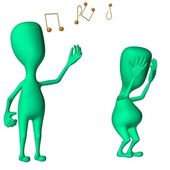 Green 3d puppets mimicking singing and fatigue — Stock Photo