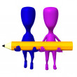 View two 3d puppets carry yellow pencil — Stock Photo