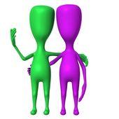 Deux marionnettes 3d confortablement parler de l'avant — Photo