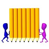 3d puppets hold wall from yellow pencils — Stock Photo