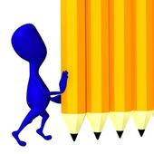 3d puppet hold yellow wall from pencils — Stock Photo