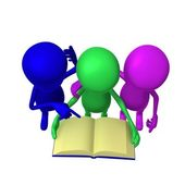 View three 3d puppets reading blue book — Stock Photo