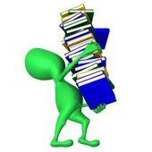 Visa valp bär bok kolumn på händer — Stockfoto
