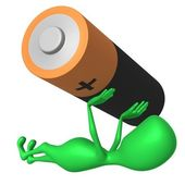 View green puppy increase battery by hands — Stock Photo