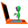 Stock Photo: View puppet standing on enormous size laptop