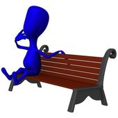 View puppet make thoughts on park bench — Stock Photo