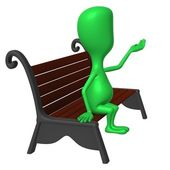 View green puppet on bench testing weather — Stock Photo