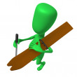 View green puppet with skis on shoulder — Stock Photo