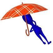 View puppet sleep under umbrella very nicely — Stock Photo