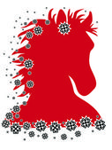 Red horse after riding illustration with pattern — Stock Photo