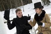 Man take off hat when woman talk — Stock Photo