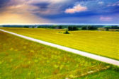 Road over green field on windy weather — Stock Photo