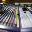 Stock Photo: View on sound mixer with regulation buttons