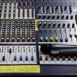 View on sound mixer with regulation buttons - Stock Photo