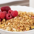 Zoomed shapy cereals with berries with spoon — Stock Photo #25033475