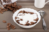 Flakes in bowl sinking in sour cream — Stock Photo