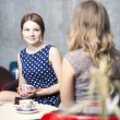 Stock Photo: Womans make dialogue and drinking hot coffee