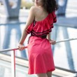 Womin nice dress rely on boundaries — Stock Photo #32148337