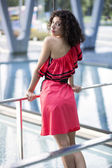 Woman in nice dress rely on boundaries — Stock Photo