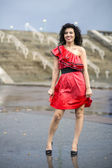 Woman in nice soaking wet dress — Stock Photo