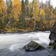 Stock Photo: Flowing river flow over rocky sturdy coast