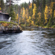 Постер, плакат: Flowing river flow calm at wider place