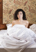 Woman awakened in bed after restless night — Stock Photo